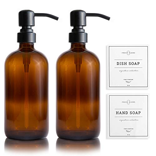 Vine Creations Amber Glass Soap Dispenser 2 Pack, Thick 16oz Bottles Rustproof Stainless Steel Pump, Modern Farmhouse Vintage Jar, Bathroom Kitchen Accessories, Dish and Hand Soap Labels (Matte Black)