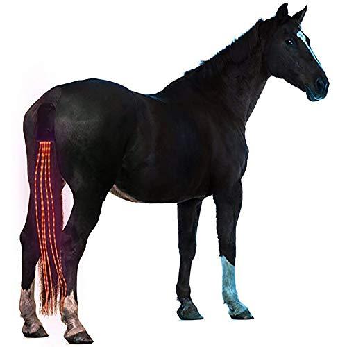 JOMOT 40Inch Horse Tail USB Coda Luci LED Addebitabile Sottocoda Cablaggio Cavallo Equestre Sport E Le Luci Horse,Rosso