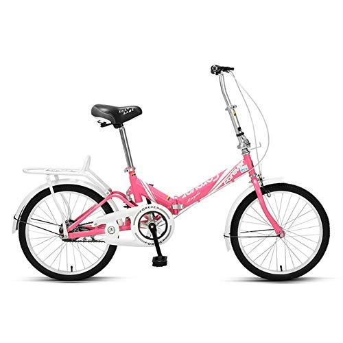 Xiaoyue Frauen Faltrad, Erwachsene Mini Leichtgewichtler faltbares Fahrrad, High-Carbon Stahlrahmen, Front- und Heckkotflügel, Kinder Urban Commuter Fahrrad, Schwarz, 20 Inches lalay
