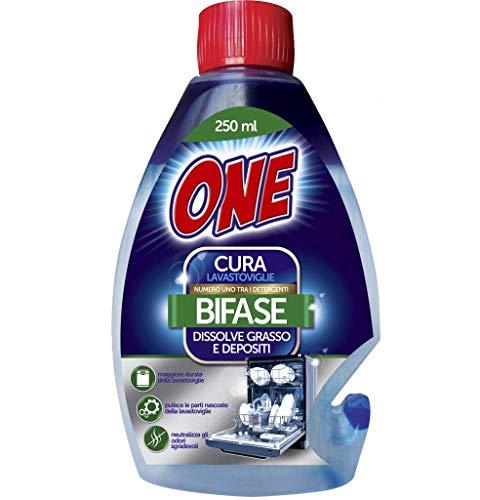 ONE   CURA LAVASTOVIGLIE BIFASICO   Permette di pulire da grasso, dai residui di calcare e di cibo la tua lavastoviglie   Allunga la vita della tua lavapiatti   Pulizia a basso impatto ambientale