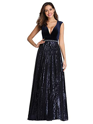 Ever-Pretty Vestito da Sera Cerimonia Lungo Donna Scollo Profondo di Velluto con Gonna a Paillettes Blu Navy 46