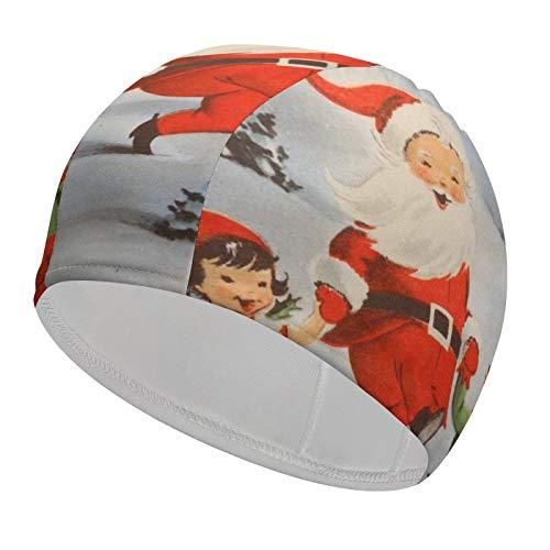 Christmas Santa Claus Kids Swim Cap Waterproof 92% Polyester+8% Spandex Comfortable Long Hair or Short Hair Swimming Caps for Any Water Sports