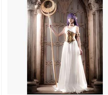 聖闘士星矢*アテナのコスプレ衣装+首飾り+手飾り+ウエスト飾り