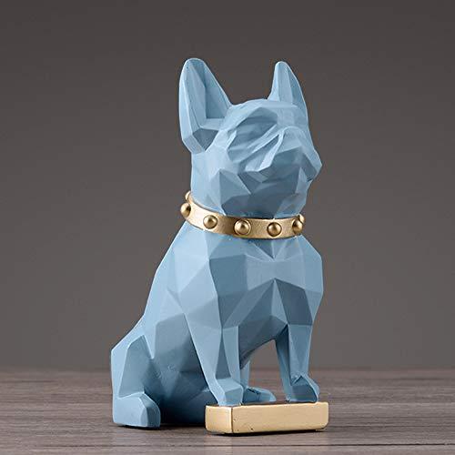 BYSDSG Resina Perro Estatuilla Arte de la Estatua de decoración del hogar Moderno Accesorios de decoración de jardín carfts Escultura Animal para Ornamentos caseros, Azul S