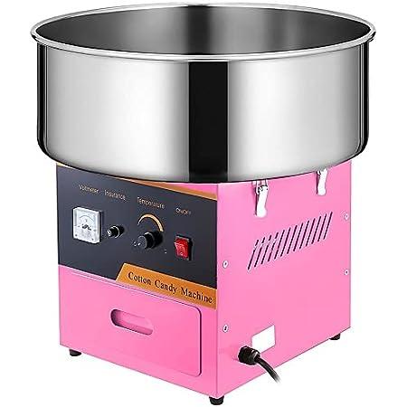 VEVOR Machine à Barbe à Papa Commerciale Rose Bol en Acier Inox 53 cm 1000 W avec 1 x Cuillère à Sucre et 2 x Brosses à Moteur 1 x Fusible Supplémentaire pour la Réunion de Famille l'Anniversaire