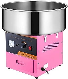 VEVOR Machine à Barbe à Papa Commerciale Rose Bol en Acier Inox 53 cm 1000 W avec 1 x Cuillère à Sucre et 2 x Brosses à Mo...