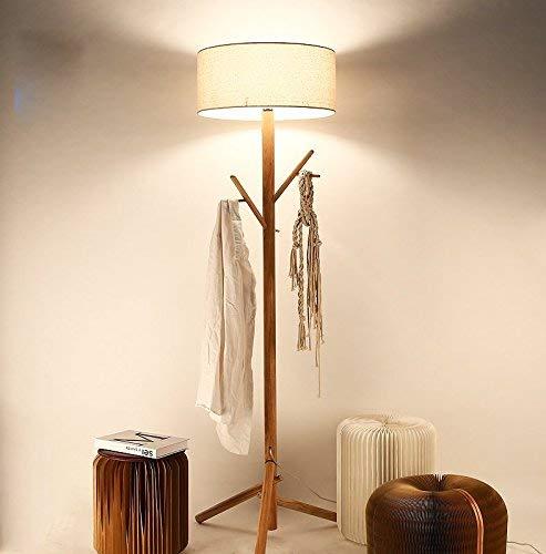 XIN Home staande lamp, staande led, Nordic eenvoudige houten kleerhanger woonkamer slaapkamer de creatieve staande lamp oogbescherming verticale tafellamp