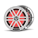 """Rockford Fosgate M2-8 Color Optix 8"""" 2-Way Coaxial Multicolor LED Lighted Marine Speakers - White/Stainless (Pair)"""