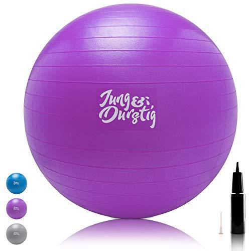 Jung & Durstig Gymnastikball inkl. Luftpumpe   Yoga und Pilates Ball 75 cm bis 150 kg belastbar   Sitzball in Lila