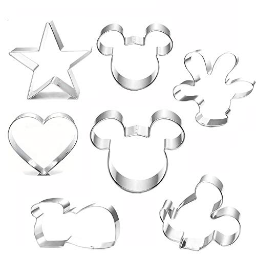 Mouse Cookie Cutter Set(7pcs)Mouse Head,Ears,Side Face,Hand,Star,Heart,Shoes Cartoon Shape Fondant Biscuit Cutters Mold for Biscuit Dough, Fondant, Fruit, Pizza