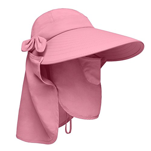 Lenikis Women's UPF50+ Sun Visor Foldable Wide Brimmed UV Protection Hat with Detachable Flaps Pink
