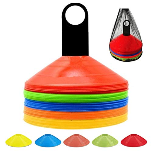 ANSLYQA Disc Cones (Set of 50) Agility Training Soccer Cones with Carry Bag and Holder for Football Basketball Sports Field Cone Markers,5 Colors