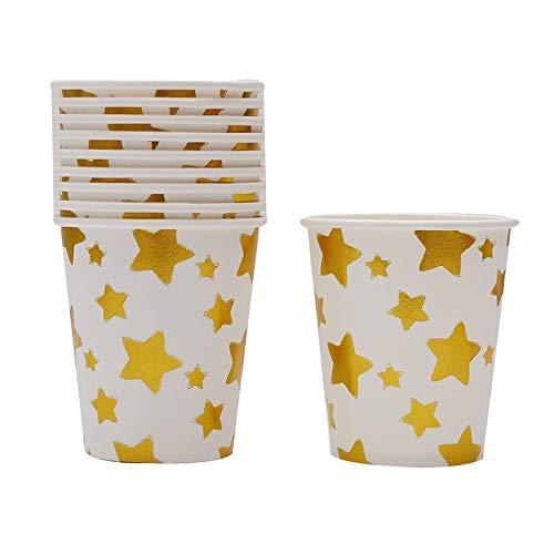 10 Teile/Paket Heißprägen Papier Platten Vintage Streifen Platten Für Hochzeit Baby Geburtstag Weihnachten Dekoration Lieferungen, Gold Star Cups