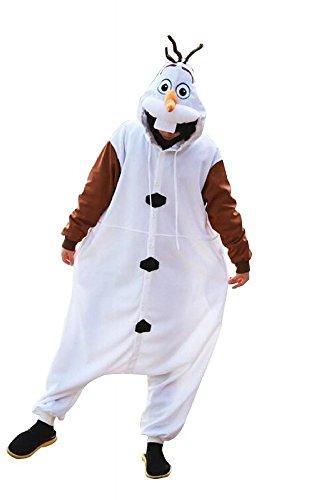Superflausch Onesies Kigurumi Pyjama - Motivauswahl: Olaf,Gr.-Small/Medium,Weiß/Braun