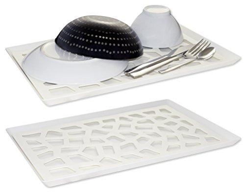 Lacui Abtropftablett, 2 TLG. Set mit Abtropfgitter und Abtropfschale für Geschirr, Obst, Gemüse; Abtropfmatte für die Spüle, Serviertablett