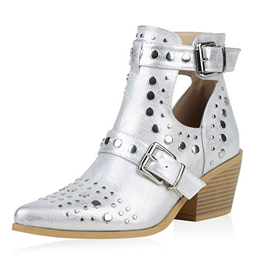 SCARPE VITA Damen Stiefeletten Ankle Boots Cut Out Booties Nieten Leder-Optik Schuhe Schnallen Spitze Kurzschaft-Stiefel 192661 Silber 38