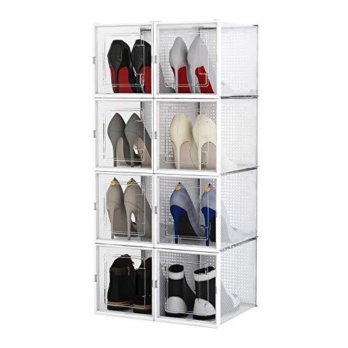 Meerveil 8X Caja de Zapatos Apilable, Organizador de Zapatos de Plástico, Almacenamiento de Zapatos con Puerta, Bricolaje Fácil de Montar, Tamaños hasta EU 42 '/ UK 9', Blanco