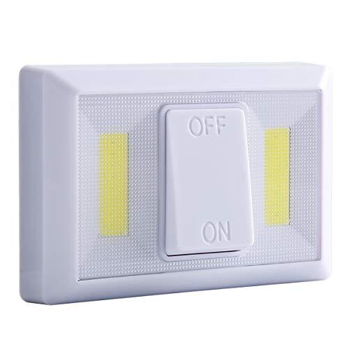 Jinxuny COB LED Luz Lámpara de Pared inalámbrica Funciona con Pilas, Mini magnético COB LED Wireless Closet Interruptor inalámbrico de Pared con luz Nocturna