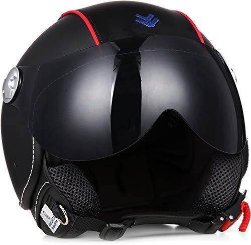 ARMOR Helmets AV-84 Motorrad-Helm, ECE Visier Leather-Design Schnellverschluss Tasche, M (57-58cm), Mehrfarbig/Booster