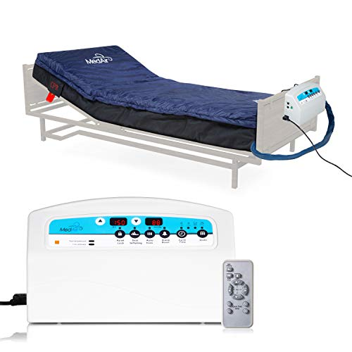 """Medical MedAir Low Air Loss Mattress Replacement System with Alarm, 8"""" with Quilted Cover Fully Digital with Remote Control"""