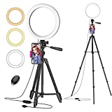 Ring Light with 50' Extendable Stand, 10' Dimmable LED Selfie Ringlights for Live Stream/Makeup, 6000K Camera Circle Lights for Zoom TikTok Photography YouTube Video Conference Lighting for Phones