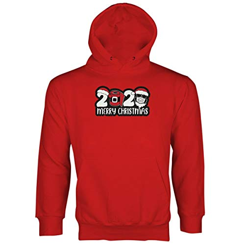 Christmas 2020 Hoodie 2020 Christmas Quarantine Hoodies Santa Wearing Mask Red