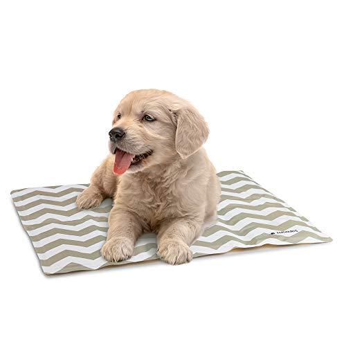 Navaris Alfombra de enfriamiento para Mascotas - Manta refrescante 40 x 50 CM para Perro Gato - Alfombrilla de refrigeración con patrón de zig Zag