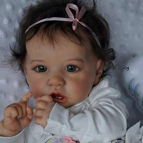 WEGAWW 23'' 58cm 1.5 kg Saskia Reborn Puppe Lebensecht Reborn Baby Vollsilikon Pflegen Leicht Waschbar Spielzeug Für Kinder und ältere Menschen