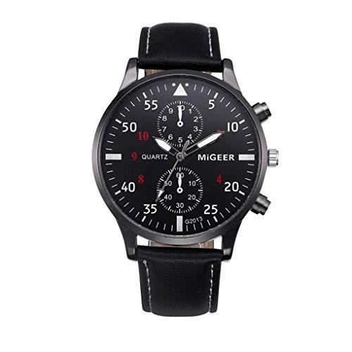 Armbanduhr für Heren/Skxinn Männer Schwarze Brown Mode Analog Quartz Kunstleder Armband,Retro Herrenuhren Ausverkauf(Schwarz,One size)