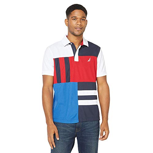 Nautica Men's Navtech Classic Fit Colorblocked Polo, Bright White, Large