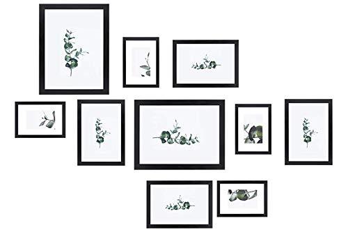Chely Intermarket, Marco multifotos Pared Set de 10 Marcos(Color Negro) Mod-254 (10x15cm(x4)-13x18cm(x4)-20x25cm(x2)). Portafoto de Madera sólida MDF con Cristal Vidrio. (Set de 10 Marcos, Neg