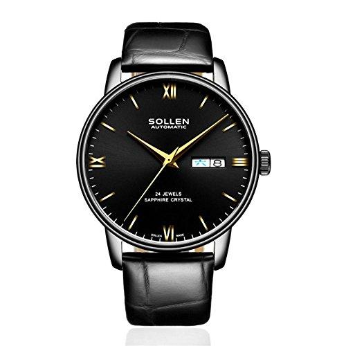 CcCoCc Herrenuhren automatische mechanische Zeiger Digitalanzeige Lederband Wasserdichte mechanische Uhr, 006