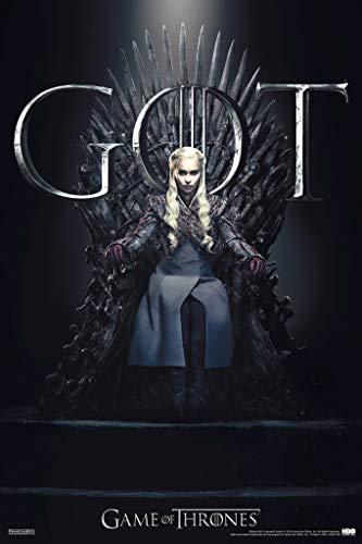 Pyramid America Póster de Daenerys Targaryen Iron Throne Season 8 de Game of Thrones para decoración de pared, 12 x 18