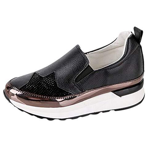 Sneakers Wedges Schuhe Casual Atmungsaktive Sportschuhe Damen Einzelschuhe Frau Mädchen Student LederLeichtgewicht rutschfest Wanderschuhe
