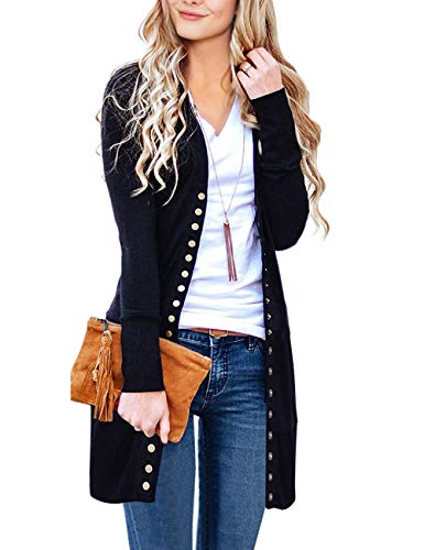 MEROKEETY Women's Long Sleeve Snap Button Down Solid Color Knit Ribbed Neckline Cardigans Black