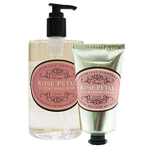 Naturally European Rose Petal Hand Wash & Hand Cream Duo Pack | Moisturing Shea Butter Hand Cream | Hand Cream for Dry Hands | NO SLS or Parabens