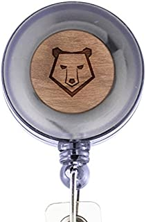 MODERN GOODS SHOP Polar Bear Face Id Badge Holder - Wooden ID Holder - Laser Engraved Design Custom ID Holder - Clip On Belt/Pocket Retractable ID Badge Holder