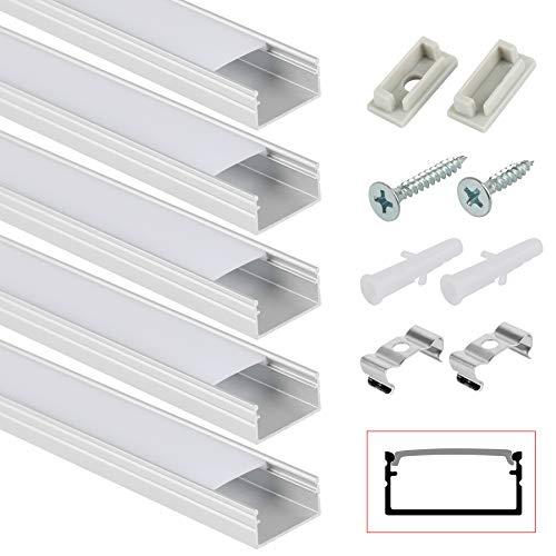 Kefflum 5 Meter LED Profil (5 * 1Meter) LED Aluminium Profil mit Seitentrog für Strip Lights Breite Schneidbar Mit Endkappe Befestigungsclip Geeignet für LED-Strips/Band bis 16mm
