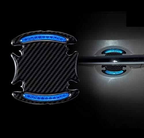TRUE LINE Automotive Carbon Fiber Inner Door Handle Scratch Protector Reflective Warning Marker Trim Molding 4PC (Blue)