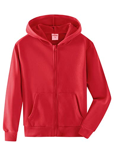 Spring&Gege Youth Solid Full Zipper Hoodies Soft Kids Hooded Sweatshirt for Boys and Girls Size 7-8 Years Red