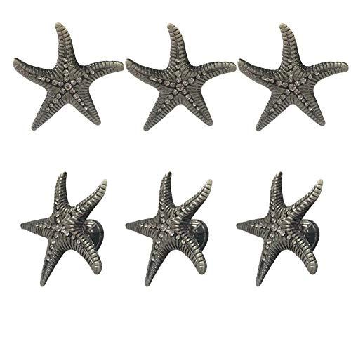 luluxing 5 pomos decorativos para cajón, diseño de estrella de mar, estilo playero, con un solo agujero, para muebles, cocina, hogar, armario, armario, armario