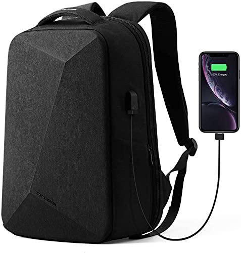 MS Anti-Diebstahl Rucksack,15,6 Zoll Laptop Rucksack mit USB-Anschluss TSA Lock für Herren Damen Business Laptop Rucksack für die Reisen, Schule, Geschäft (Black-Diamond-Form)