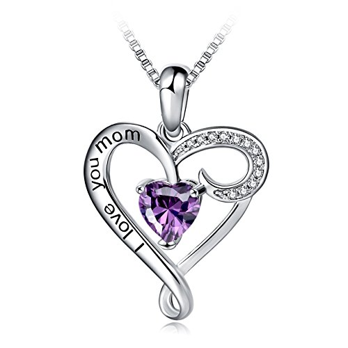 Mothers Birthday Gift I Love You Mom S925 Sterling Silver Heart Pendant Necklace
