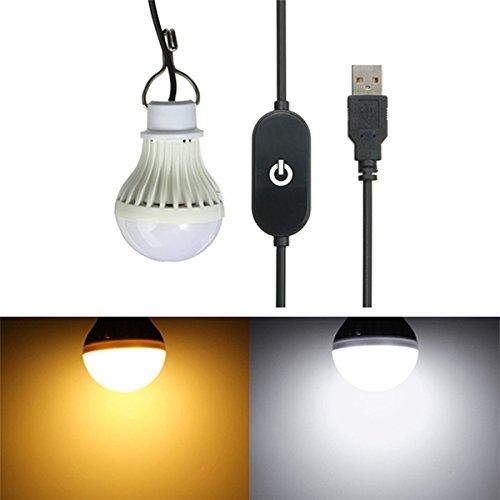HELEISH Bombilla LED de 5W USB con interruptor de sensor táctil para acampar al aire libre Senderismo de emergencia 5V Nuevas luminarias LED (Color : Warm White)