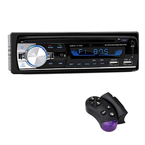 Dcolor Reproductor de MP3 para AutomóVil Radio para AutomóVil 1 DIN 2.1A Dual USB Manos Libres 4X65W Radio FM Compatible con TeléFonos iOS y Android con Control Remoto Volante