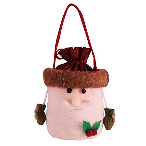 Weihnachten Süßigkeitentasche,Yue668 Schlitten Form Süßigkeits Beutel Karikatur Rotwild Muster Apfelbeutel Schneemann Geschenktasche für Kinder Junge Mädchen (C)