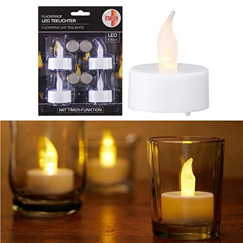 LED Teelicht 4er Set weiß mit Timer warmweiß Kerzen flackernde Teelichter