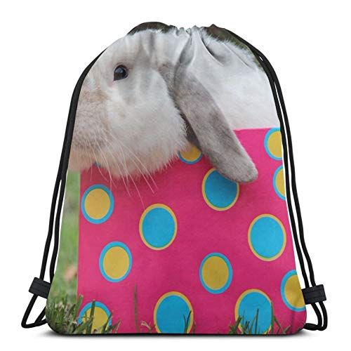 Perfect household goods Kaninchen-Maulkorb mit Kordelzug, leicht, für Fitnessstudio, Reisen, Yoga, Freizeit, Snackpack, Schultertasche für Wandern, Schwimmen, Strand