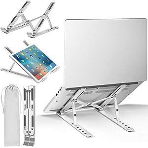 """ivoler Soporte Portátil Mesa 6 Ángulos Ajustables, Aleación de Aluminio, Soporte Ordenador Portatil Ventilado Plegable para 10-15.6""""Macbook, DELL, Chrome, Otros Portátiles y Tableta - Plata"""