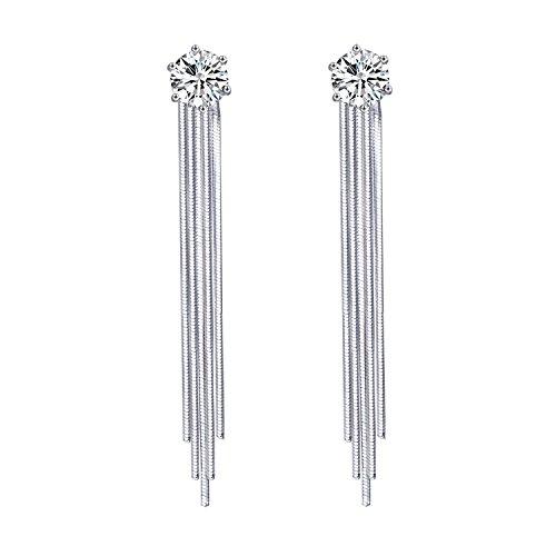 QUKE 925 Sterling Silber Quasten Design Blumen Shape Zirkonia Kristall Bridal Ohrhänger hängend Ohrringe